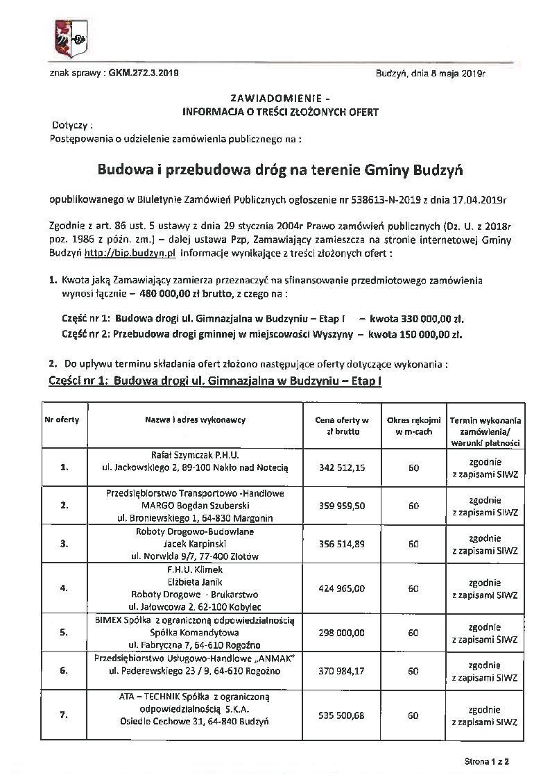 Informacja o treści złożonych ofert z dnia 8.05.2019 r. - strona 1