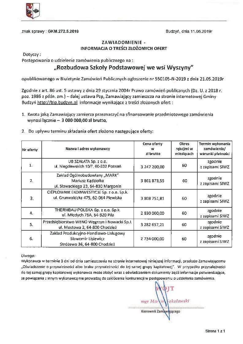 Informacja o treści złożonych ofert z dnia 11.06.2019 r.