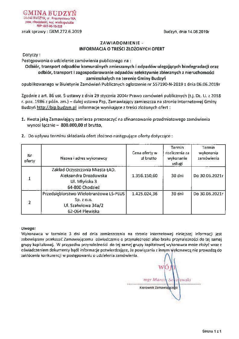 Informacja o treści złożonych ofert z dnia 14.06.2019 r.