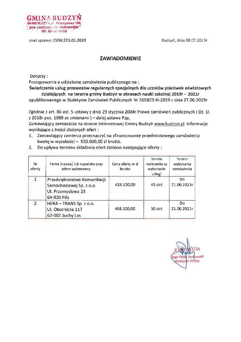 Informacja o treści złożonych ofert z dnia 8 lipca 2019 r.