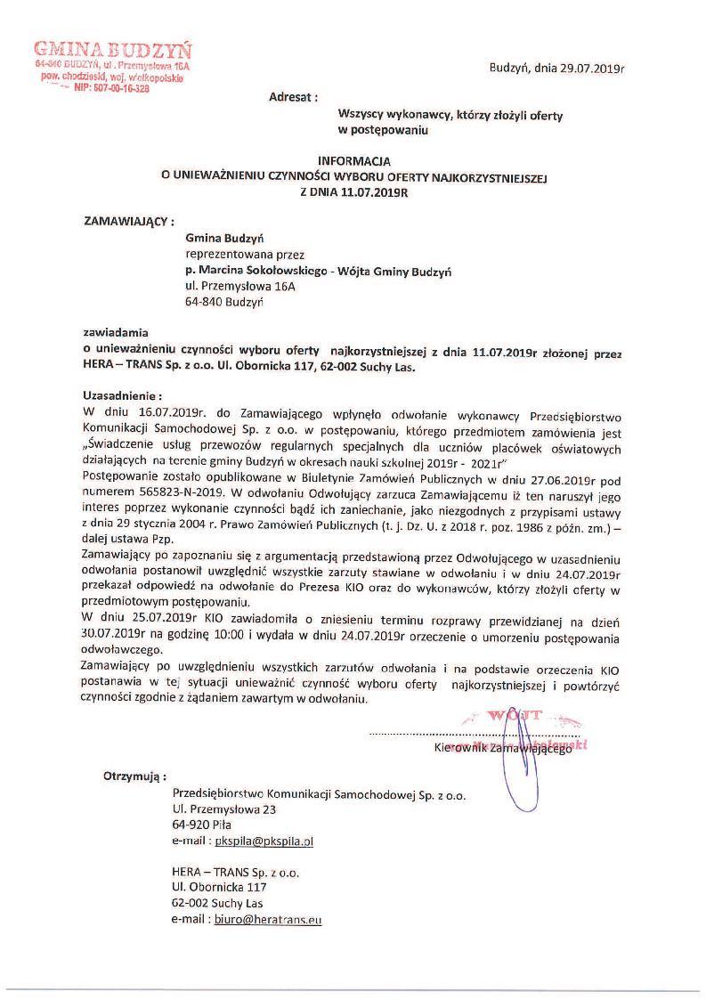 Informacja o unieważnieniu czynności wyboru oferty najkorzystniejszej - 29.07.2019 r.